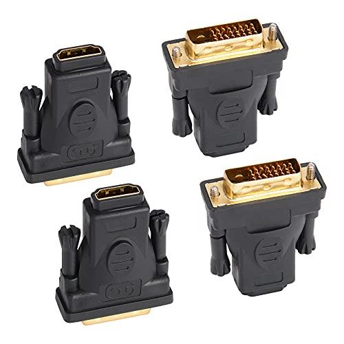 J&D Adaptador DVI a HDMI, 4 Paquetes Chapado en Oro DVI (DVI-D) Macho a HDMI Hembra Adapter Convertidor, Bidireccional Soporte 3D 4K ARC Ethernet