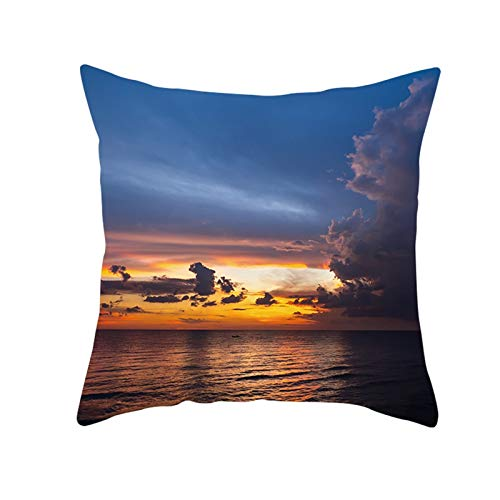 KnSam Pillowcase 18x18, Polyester Square Case Sunset Sea, Cushion Case for Sofa Couch Bedroom Car Living Room, with Hidden Zipper, Dark Blue Orange, 45x45cm, Style 10 (1pc, No Filler)