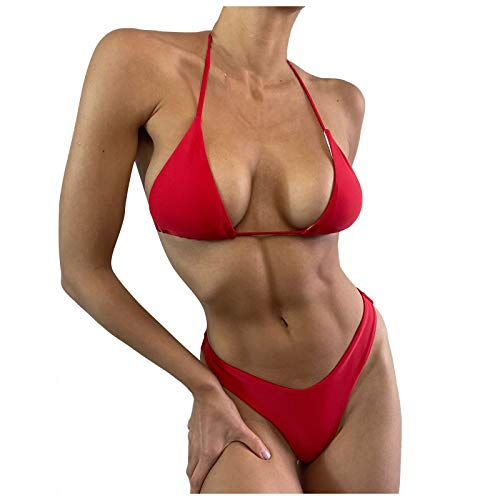 Traje de baño Bikini para Mujer de Alta Elasticidad con Espalda Abierta de Color sólido Sexy con de Corbata Elegante Transpirable Playa Sol natación Surf YANFFANG
