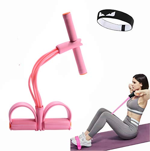 calliven Multifunction 6-Tube Elastic Yoga Pedal Puller Resistance Band, Natural Latex Tension Rope Fitness, for Abdomen Waist Arm Leg Stretching Slimming Training (Macaron Pink)