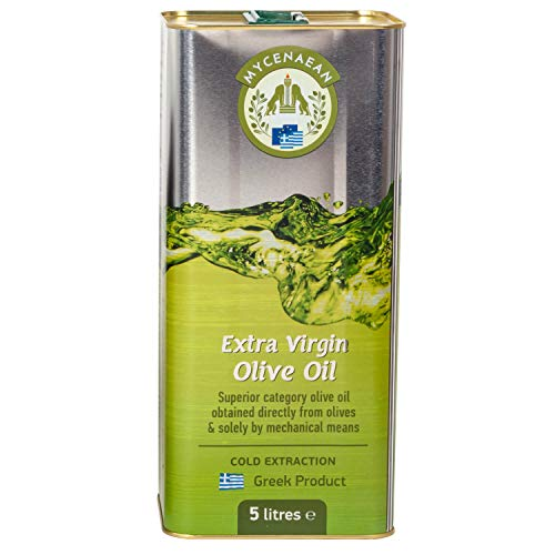 Griechisches Olivenöl nativ extra von Peloponnes, kaltgepresst   5 Liter Kanister   zum Kochen, Backen, Braten und für Salat   Mycenaean
