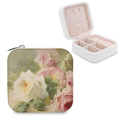 Caja de joyería para mujeres y niñas, caja de almacenamiento de joyería de cuero sintético vintage de color rosa victoriana para collares, pendientes, anillos, pulseras