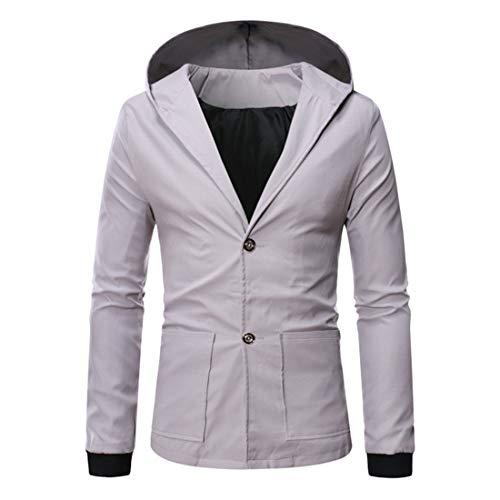 FULUN Chaqueta de manga larga con botones de color sólido con capucha y capucha para hombre, informal, de gran tamaño, de algodón y lino, corte delgado, suéter de esmoquin con bolsillos