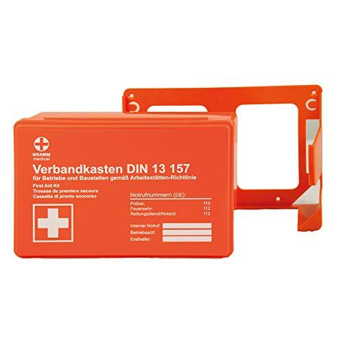 ACTIOMEDIC Mini-Verbandkasten für Unternehmen, inkl. Wandhalterung für stationären Gebrauch, DIN 13 157 I Mit visuelle Darstellung zur Ersten Hilfe für Unternehmen, orange, 26 x 8,5 x 18 cm