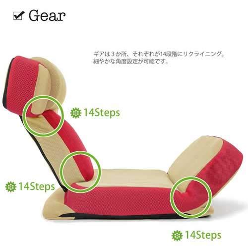 座椅子ゲームチェアゲーミングチェアカラーレッドハイバックマルチリクライニングゲーム座椅子「ソリッド」ヘッドギアフットギア蒸れにくいメッシュ素材おうちでゲーム