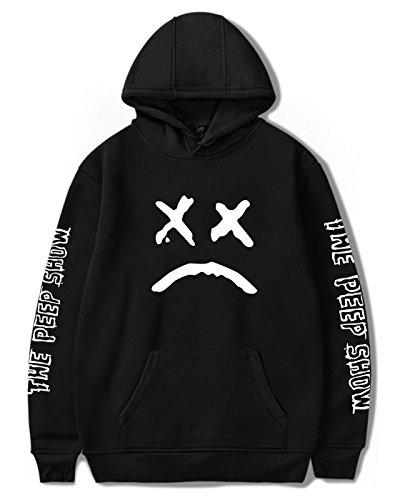 SIMYJOY Unisex Lil Peep Hoodie Emo Rap Coole Pullover Crybaby Spotlight Straßen Fashion Sweatshirt Für Männer Frauen Mädchen und Jugenden, Schwarzes, L