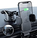 ZeeHoo Wireless Car Charger,10W Qi Fast Charging Auto-Clamping Car Mount,Windshield Dash Air Vent Phone Holder (Leather-Black)
