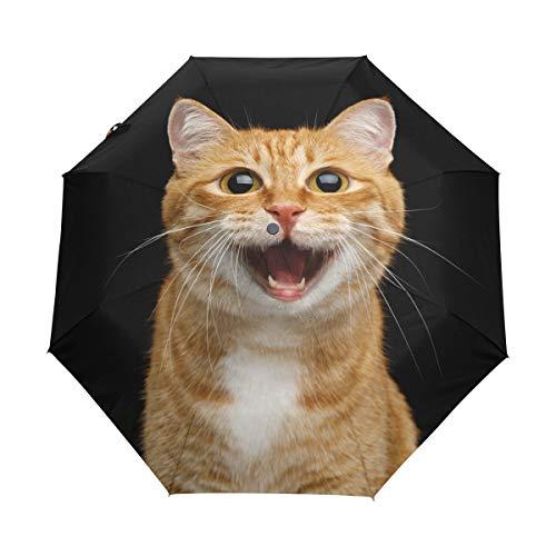MyDaily Happy Ingwer-Reise-Regenschirm, automatisches Öffnen/Schließen, leicht, kompakt, Winddicht
