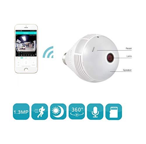 DrPhone 360 ° Panorama Wifi Camera - E27 Bulb/Fisheye IP Lamp - CCTV Monitor Lamp WIFI Nachtvisie Beveiligingscamera
