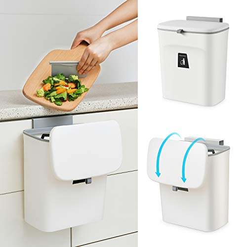 SUBEKYU 2.4 Gal Hanging Trash Can for Kitchen Cabinet Door with Lid, Small Under Sink Garbage Can for Bathroom, Wall Mounted Counter Waste Compost Bin, Plastic (White)