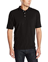 Short-sleeve polo with three-button placket and tag-free labeling Hanes X-Temp technology dries faster as body heat rises, helping maintain cool temperature 40+ UPF rating for UV protection 5.5-oz. ring-spun cotton blend