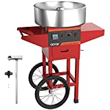 VBENLEM 20.5 Inch Cotton Candy Machine with Cart Commercial Floss Maker Perfect for Family and Various Party, Red