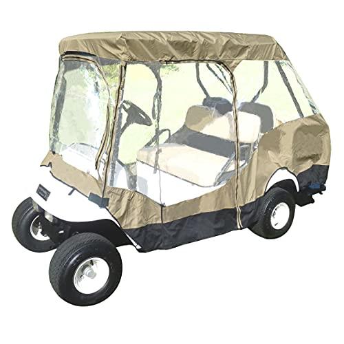 Formosa Covers 2+2 Passenger Golf Cart Driving Enclosure Cover Premium Tight Weave New Stronger YKK Door Zipper (2 Passenger Short Roof 58' + 2 Passenger Rear Facing Bench) (Taupe)