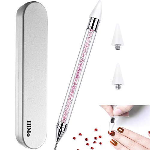 Nail Rhinestone Picker Dotting Tool with Extra 2 Wax Head, Dual-ended DIY Nail Art Tool With Pink Acrylic Handle