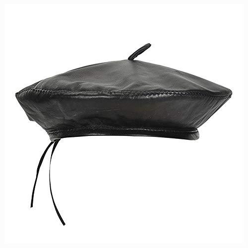 HXGAZXJQ Casco de Visera Moda Salvaje Cuero Sombrero de Boina Otoño e Invierno Retro Color sólido Pintor Sombrero Perla de Boina Marea Femenina Sombrero para el Sol para los Hombres