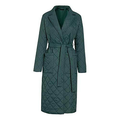 #N/A/a Abrigo largo de invierno con patrón de rombos fajas casuales Parkas mujeres bolsillos profundos a medida cuello elegante prendas de vestir - Verde S