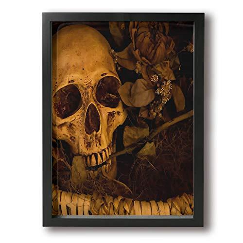 Olverz Cuadro abstracto con marco de madera, diseño de calavera marrón y hueso, con marco de madera, diseño moderno, para pared, decoración del hogar y la oficina, tamaño enmarcado 30,4 x 40,6 cm