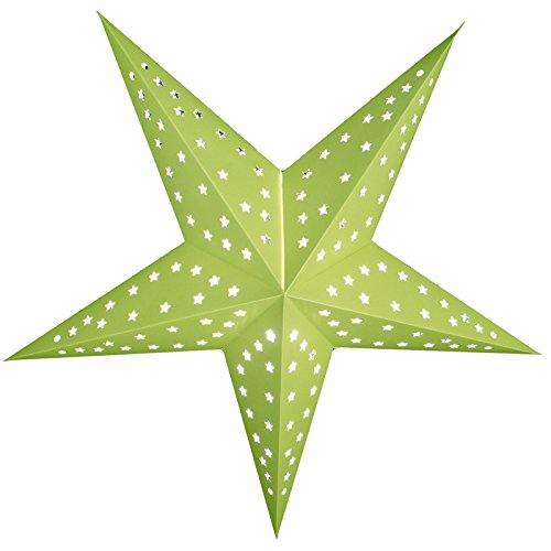"Quasimoon PaperLanternStore.com 24"" Solid Lime Green Cut-Out Paper Star Lantern, Hanging Decoration"