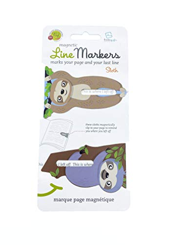 Line Markers Novelty Fun Magnetic Bookmark Page Holder Book Lover Reading Gift (Sloth)