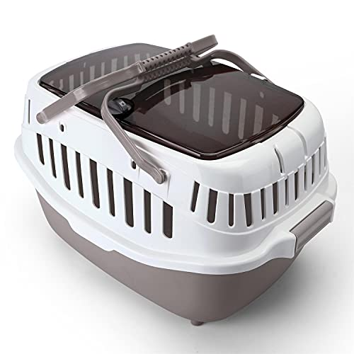 Nobleza-Transportín de plástico,Transportín Gato Perro Portátil y Transpirable para Mascotas,58 * 30 * 32.5cm,Abertura Superior,Marrón&Gris