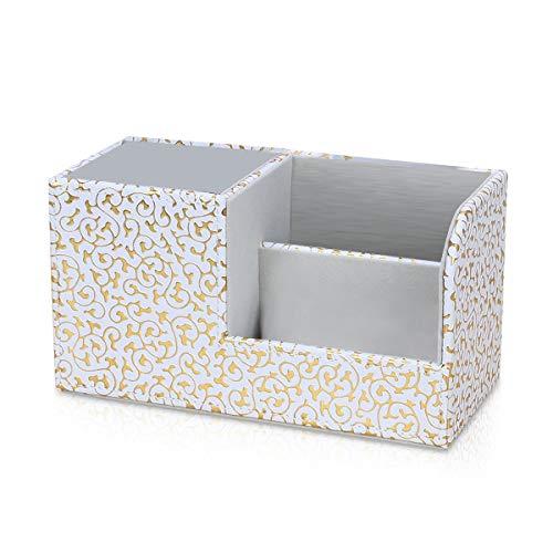 MARSACEペンスタンド 鉛筆収納ラック 筆立て 小物収納ボックス PUレザーボックス 卓上収納ケース リモコンラック 収納ボックス ペン立て