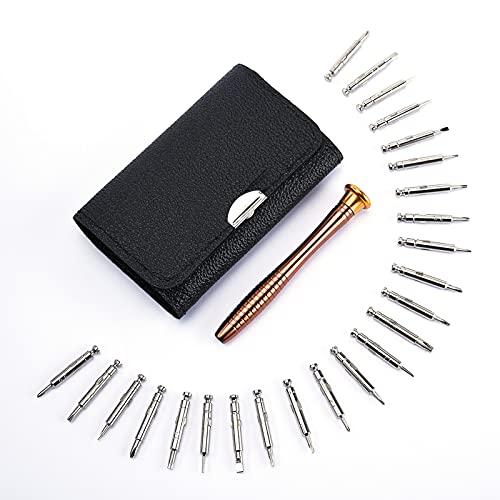 tao pipe Mini Schraubenzieher Set, 25 Magnetischen Feinmechaniker Schlitz Kreuzschlitz Torx Screwdriver Werkzeug und Ledertaschen für Uhr Brille Smartphone PC Tablette Kamera Reparatur