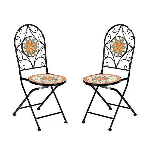 Heavy Duty & Durable Outdoor Mosaic Bistro Table Set Patio Pub Dining Folding Chair Weather Great for Swimming Pool, parlors, Bedrooms, Balconies, lawns, Backyards, Gardens (2 Chairs)