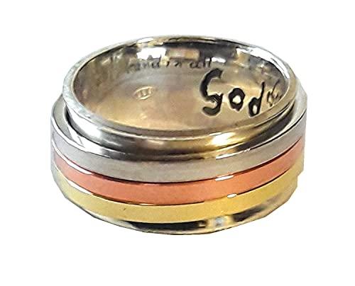 Anillo (antiestress) de plata tipo cartier, con 3 anillos gitatorios de plata, cobre y laton, con texto personalizado.