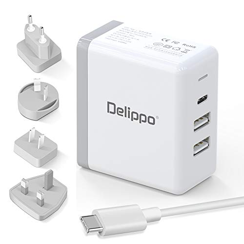 Delippo 65W USB C Charger PD & QC 3.0 USB 3 in 1 Travel Wall ChargerCargador portátil Adaptador para Nintendo,Google Pixel,Galaxy S9 S8 Note8, iPhone X 8 MacBook Pro 13/15, MacBook 12, DELL,HP More