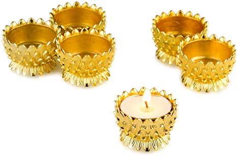Sziqiqi 6 Pcs Lotus Ghee Lamp Holder Butterlamp Tea Light Holder Tibetan Copper Oil Lamp Altar product image