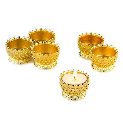 Sziqiqi 6 Pcs Lotus Ghee Lamp Holder Butterlamp Tea Light Holder Tibetan Copper Oil Lamp Altar Supplies, Gold
