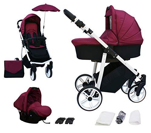 Skyline 3in1 Kombi Kinderwagen mit einem Aluminium Gestell, Babywanne, Sport Buggyaufsatz und Babyschale (ISOFIX) (Rotwein)