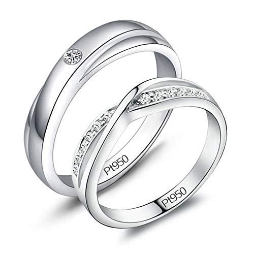 Moissanite gesimuleerde diamanten verlovingsring, heren dames geplatineerd sterling zilveren ring paren ring
