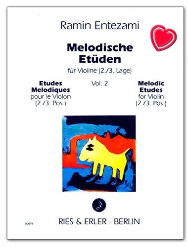 Melodische Etüden Band 2 für Violine (per violino) - Autore Entezami Ramin - Libro delle note musicali con graffetta per spartiti a forma di cuore colorato - RE00093 9790013000937