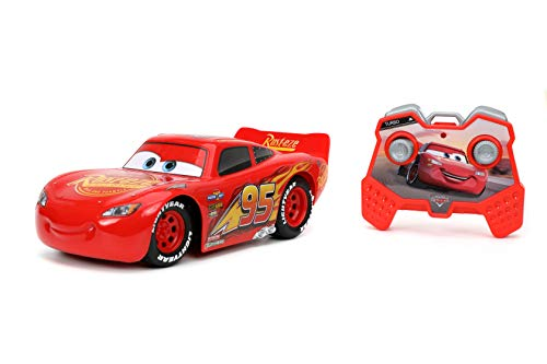 Jada Toys Pixar Cars 1:24 Lightning McQueen RC Remote Control Car 2.4 GHz Red Toys for Kids