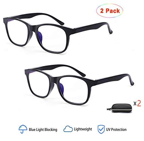 2 paar blauwe licht blokkerende bril voor vrouwen mannen, anti-schittering, anti-oog gezicht, UV-bescherming heldere lens bril Ultra licht (zwart)