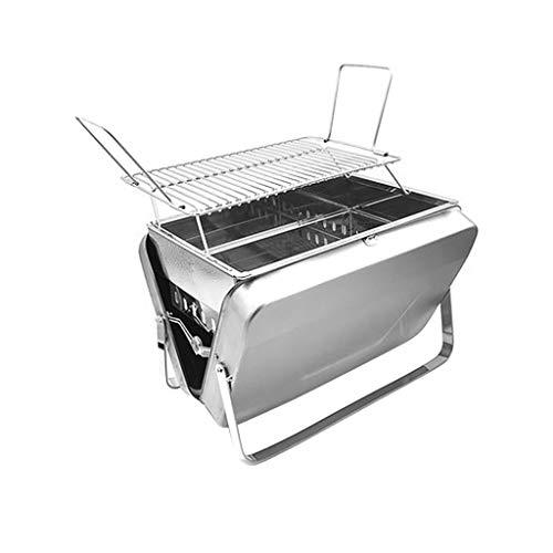 FEANG Faltbarer Holzkohlegrill, tragbarer BBQ-Grillgitter Leichter Einfache Grill für Outdoor-Kochen Camping Wandern Picknicks Reisen (Color : Silver)