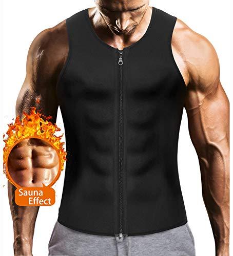 Ning Chaleco de Sudoración para los Hombres Vientre Plano Adelgazar Sauna Camiseta sin Mangas Fitness Shaperwear para Sports Perder Peso Acelera la sudoración,Aspicture,XXXL
