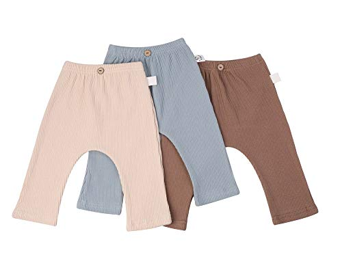 F's MAUMU ベビー リブ ロングパンツ ストレッチパンツ レギンス スパッツ レギパン キッズ ベビー服 ズボン 子供服 男の子 女の子 長ズボン (ベージュ, 90)