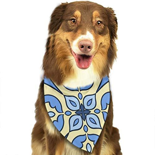 Geschilderd In Blauw En Geel Italiaanse Kleur Met Sterke Tegel Stijl Aangepaste Hond Kattenhalsdoek Set Geschikt Voor Kleine Tot Grote Hond Katten