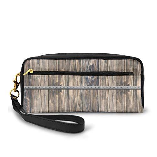 Pencil Case Pen Bag Pouch Stationair, Rustiek Houten Lange Boerderij Thema Planken Met Schroeven En Lijnen Natuur Kunst, Kleine Make-up Bag Muntzak