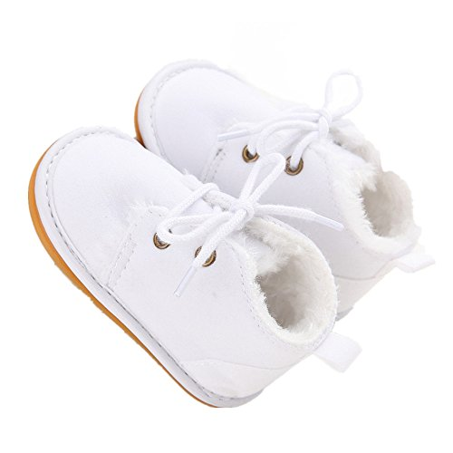 Baby Shoes Winter Plush Rubber Sole Laces Boots White 3-6 Months