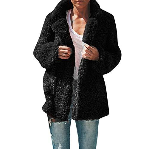 Dasongff winterjas voor dames, pluche mantel, sweatshirt, rolkraag, cardigan, lange mouwen, eenkleurig gebreid jack faux voor overcoat, zwart/grijs/koffie
