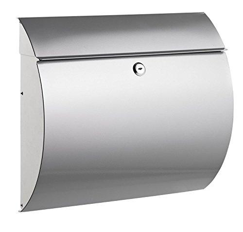 Alco 8607 Briefkasten aus Metall, ca. 37,5 x 33 x 12 cm, silber