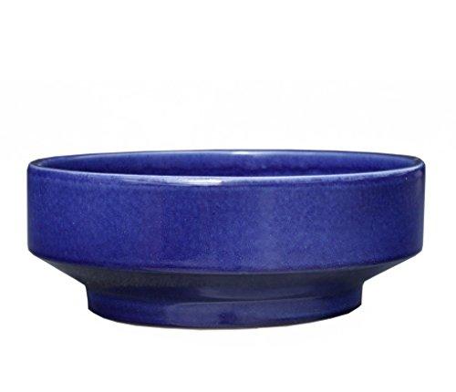 Hentschke Keramik Pflanzschale Grabschale Deko-Schale frostfest Ø 27 x 11 cm, Effekt blau, 059.L27.64 mit Bodenloch