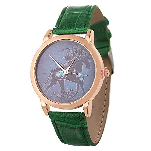 Laufen Pferd Muster Zifferblatt Mädchen Leder Uhr Kaiki Minimalismus Armbanduhr für Damen Festival Geschenk(Grün,EIN Größe)