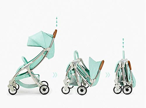 LAMTON Baby Stroller for Newborn, 4 Wheel Baby Stroller Lightweight High Landscape Travel System Foldable with Shock Absorbers from Birth, 40x100cm (Color : Green) LAMTON Adjustable handlebars for people of all heights can adjust the most comfortable push position Easy to fold, can be picked up in the trunk of the car, his parents urge him to go shopping, travel, walk, play and talk, or picnic outdoors ★ Aluminium alloy frame, sturdy, lightweight, durable, easy to store and travel 6