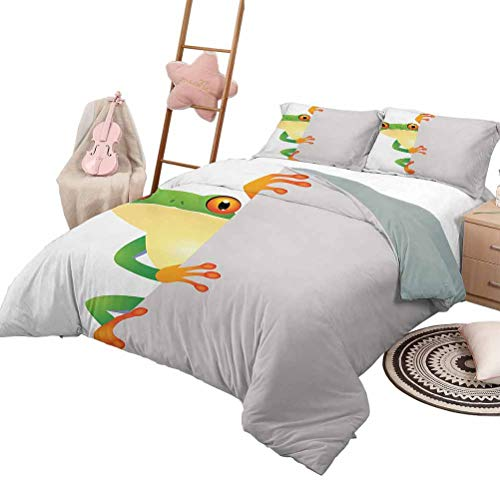 DayDayFun Quilt Set Reptile for Boys and Girls Funky Frog Prince with Big Eyes on Wall Camouflage Nursery Reptiles Theme Queen Size Green Yellow Orange