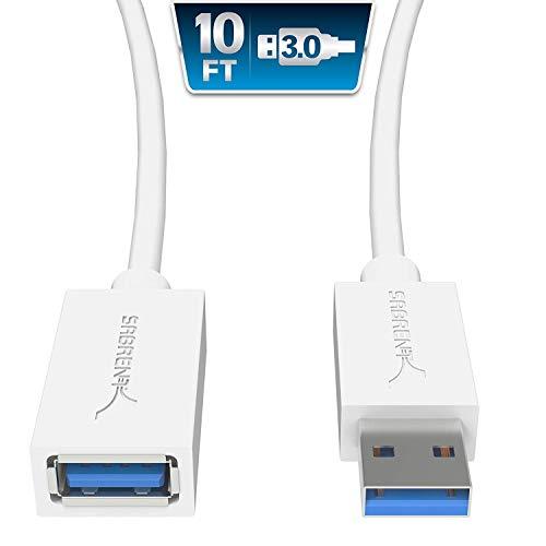 Sabrent USB Kabel 22 AWG USB 3.0 Verlängerungskabel - A-Stecker auf A-Buchse [weiß] 3 Meter (CB-301W)