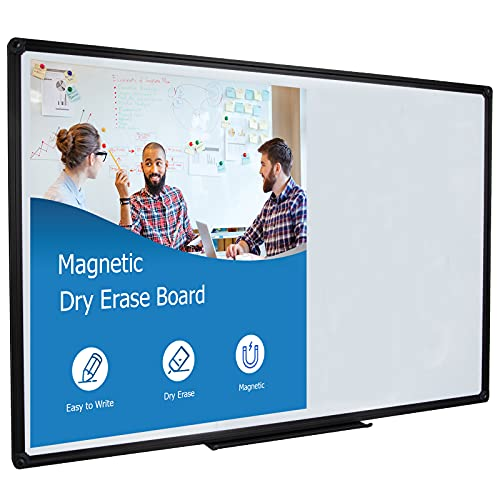 DexBoard 36 x 24 Inch Magnetic Dry Erase Board with Pen Tray| Wall-Mounted Aluminum Portable Message Presentation White Board for Students & Teachers, Black Frame